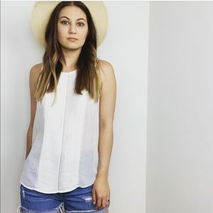 Madewell White Cotton Pleated Tank Top
